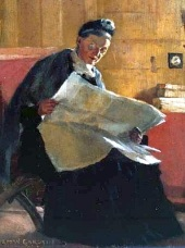Norman_Garstin_-_A_Woman_Reading_A_Newspaper_1891